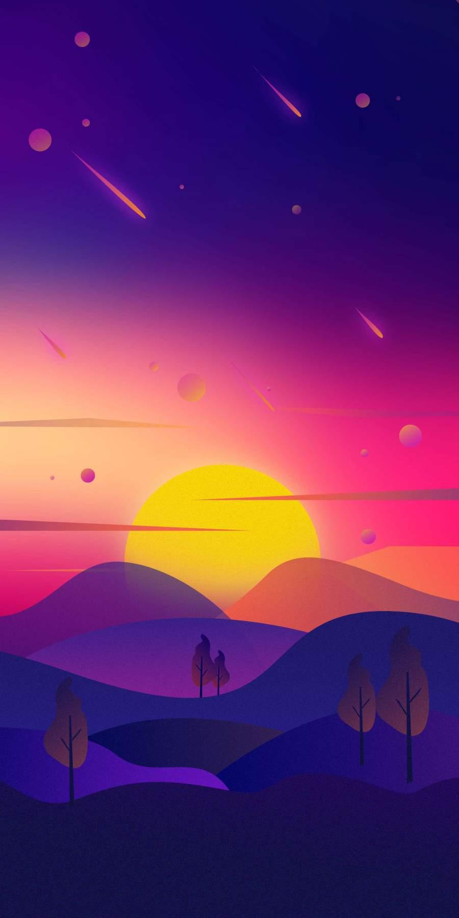 Sunset Art iPhone Wallpaper