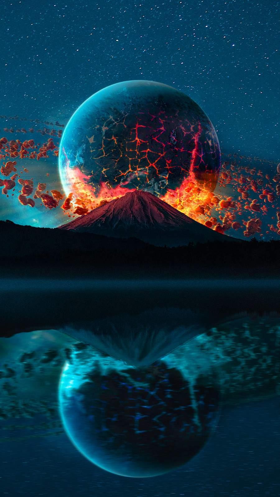 Volcano Planet iPhone Wallpaper