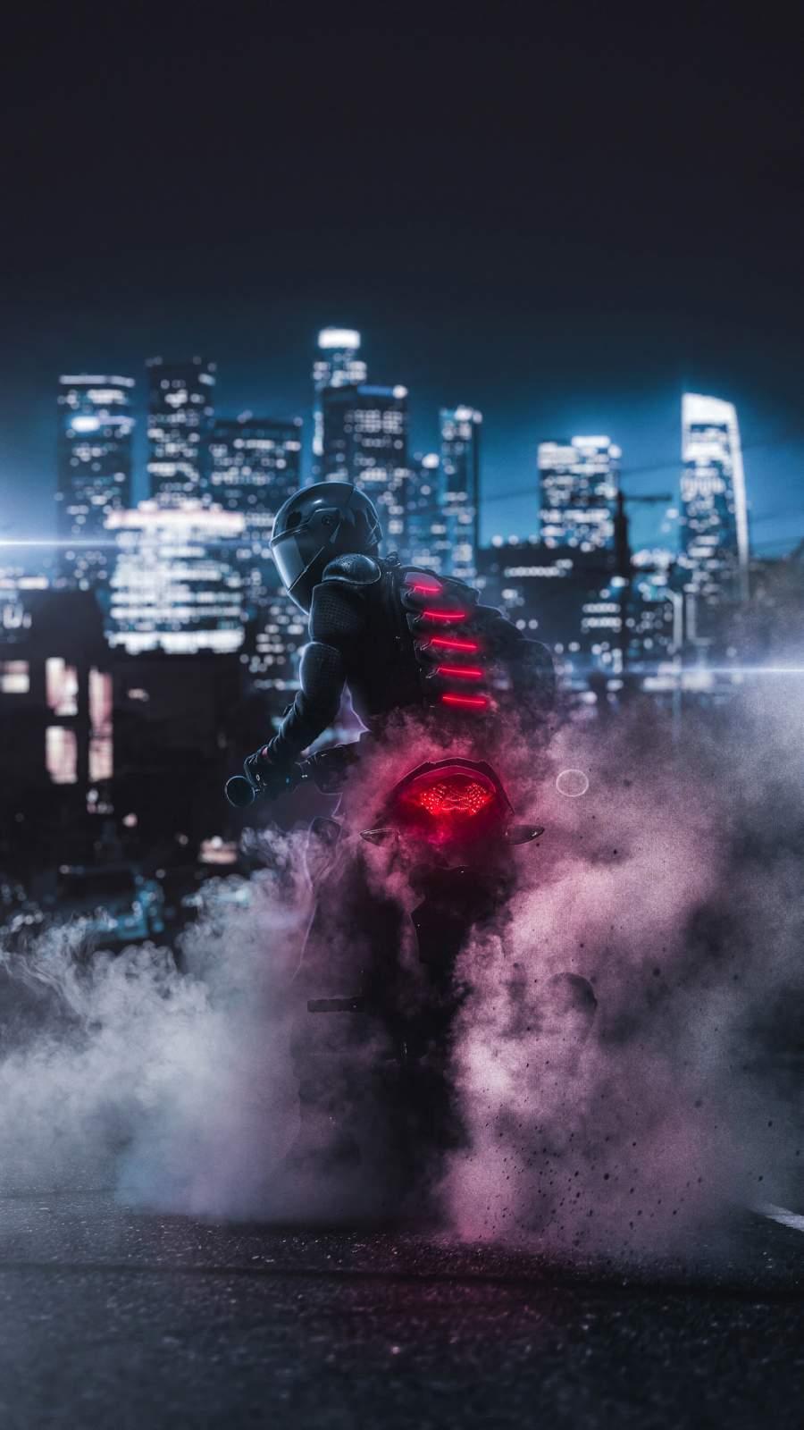 Biker Burnout iPhone Wallpaper