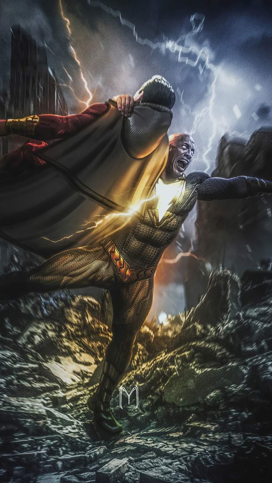 Black Adam vs Shazam iPhone Wallpaper