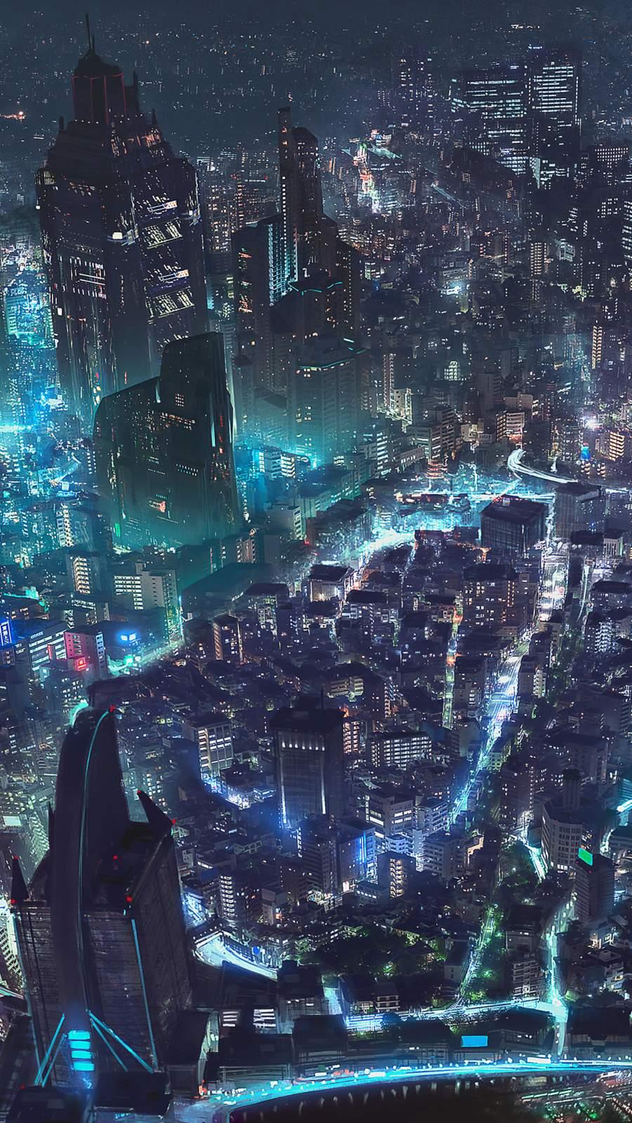 Cyberpunk City iPhone Wallpaper
