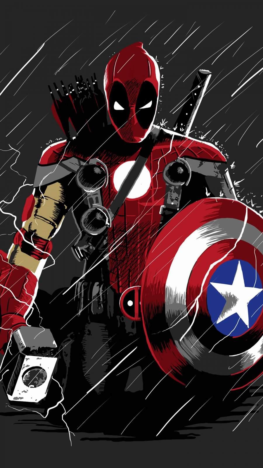 Deadpool vs Avengers iPhone Wallpaper