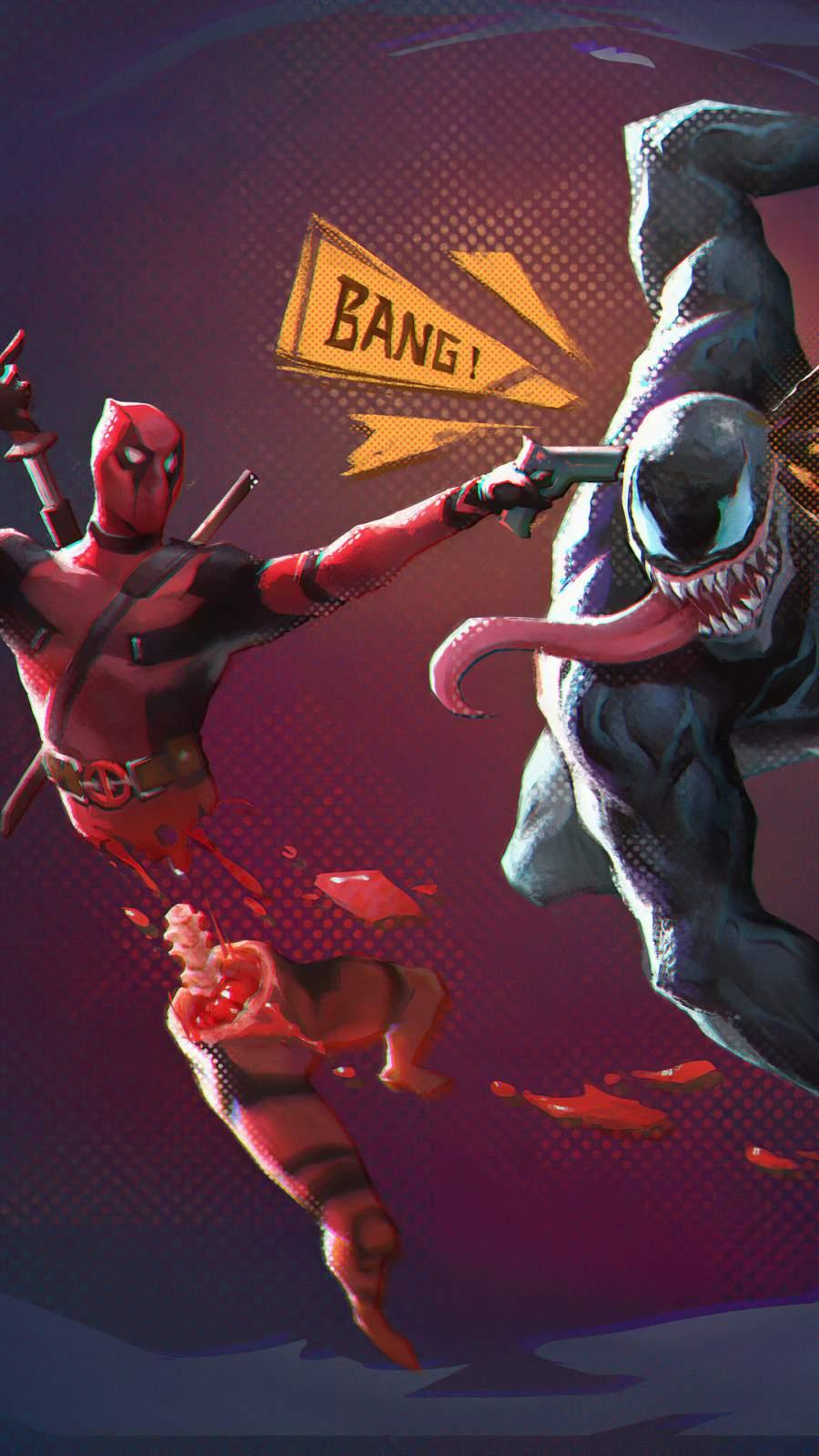 Deadpool vs Venom iPhone Wallpaper