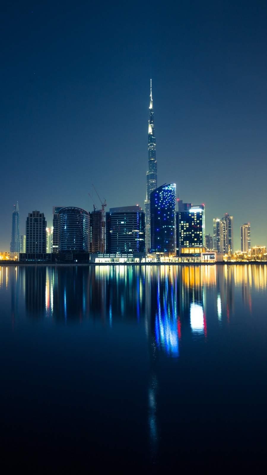 Dubai Skyscrapers Emirates UAE Night iPhone Wallpaper