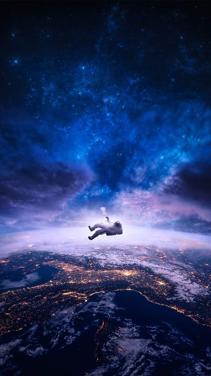 Falling Astronaut iPhone Wallpaper