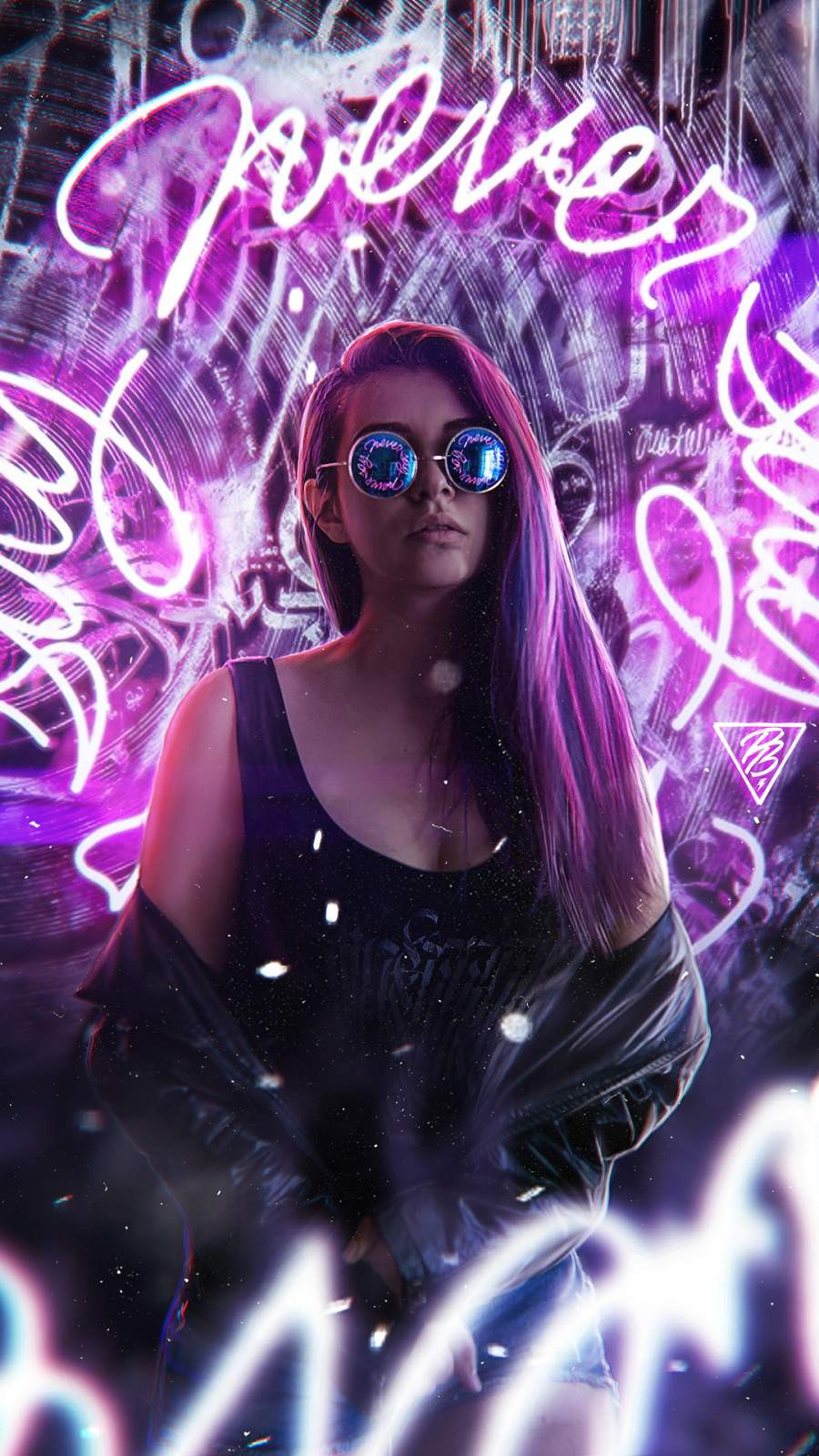 Girl Neon Light iPhone Wallpaper
