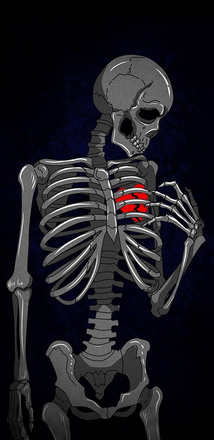 Heart Broken Skeleton iPhone Wallpaper