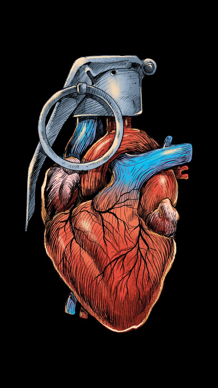 Heart Grenade iPhone Wallpaper