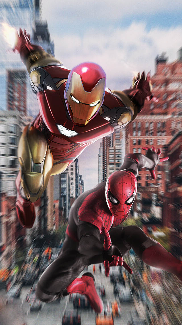 Iron Man with Spiderman iPhone Wallpaper