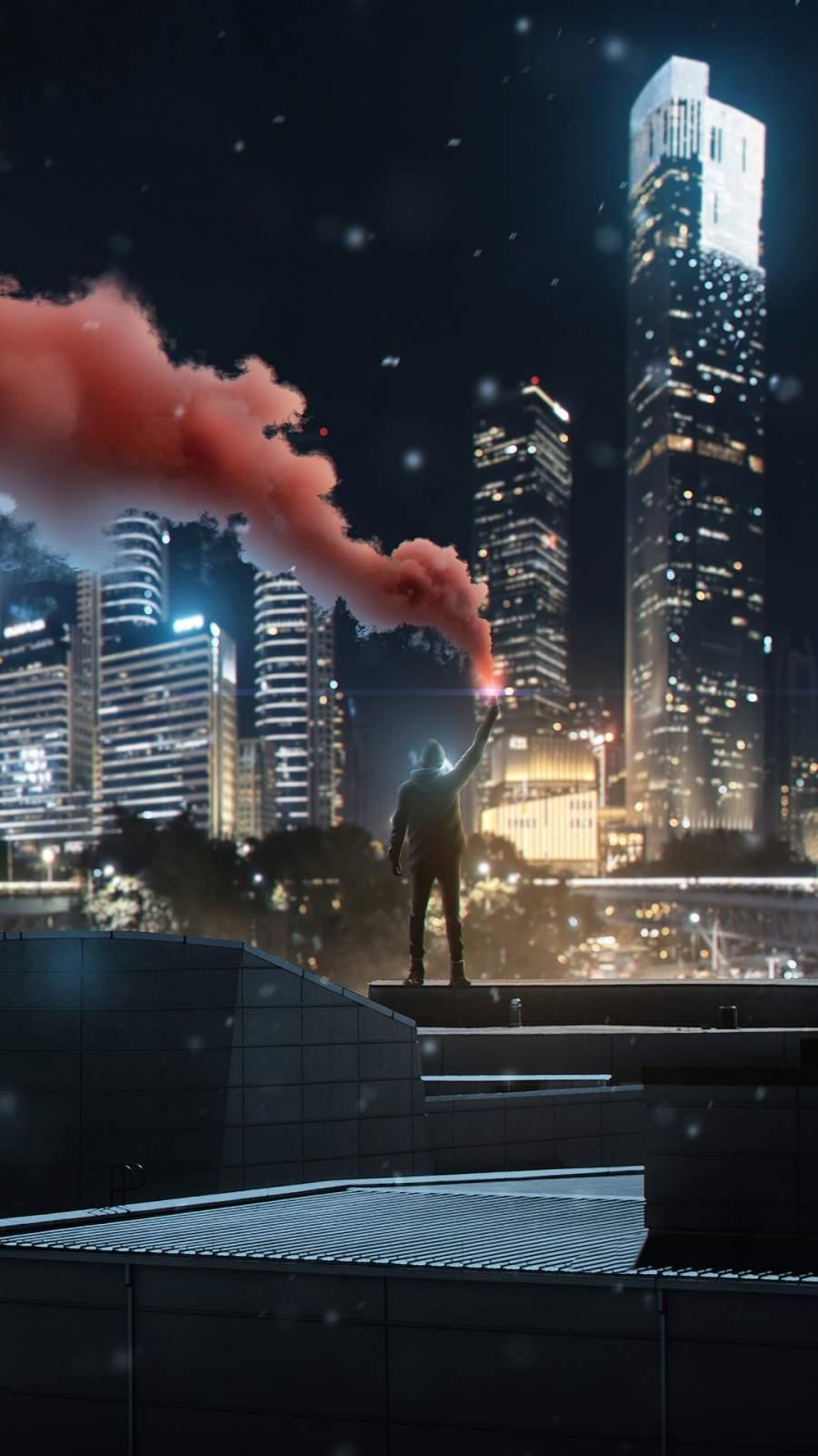 Man with Smoke Bomb iPhone Wallpaper