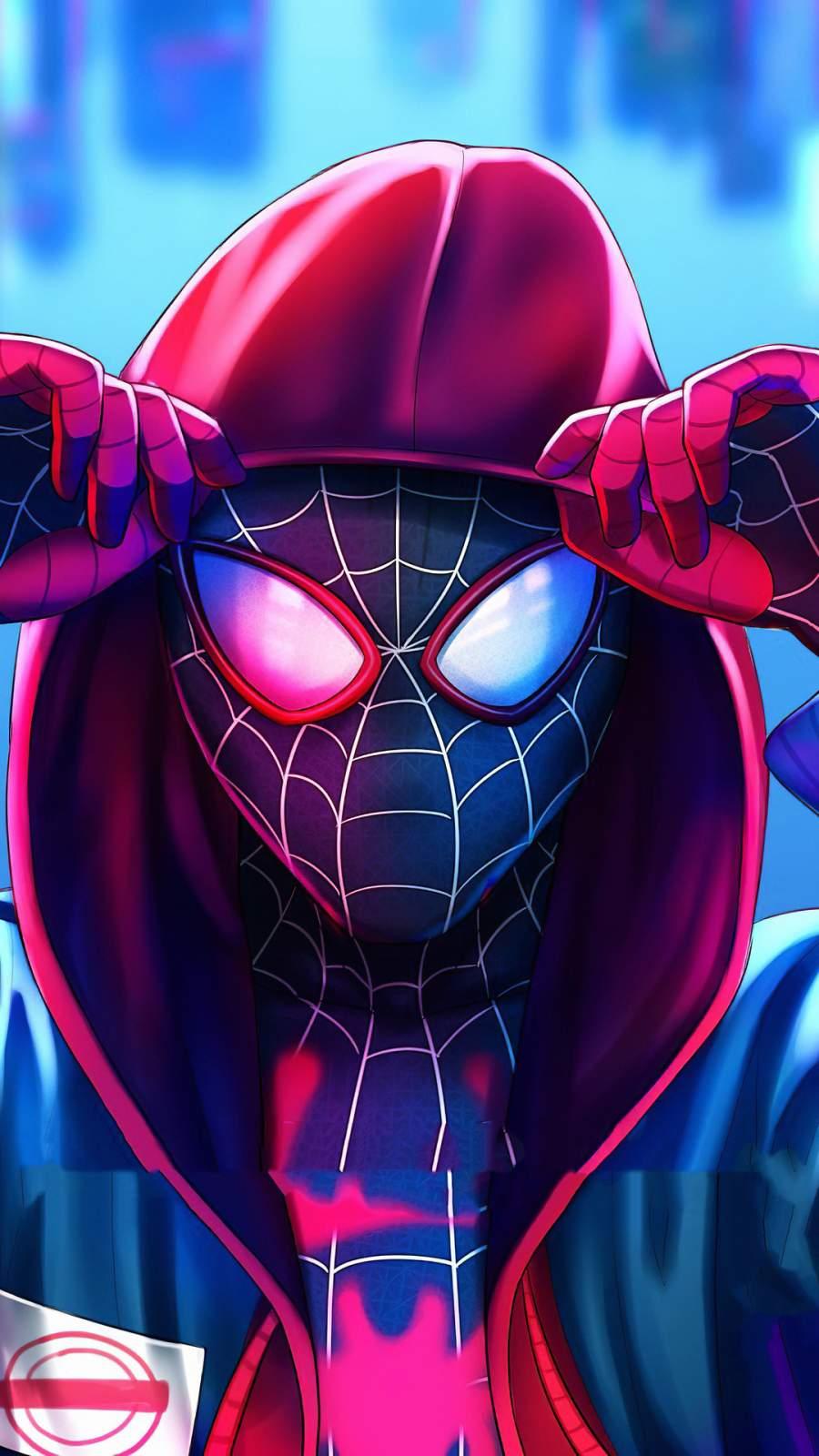 Miles Spiderman Hoodie iPhone Wallpaper