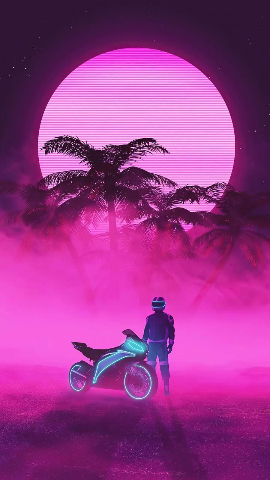 Neon Biker iPhone Wallpaper