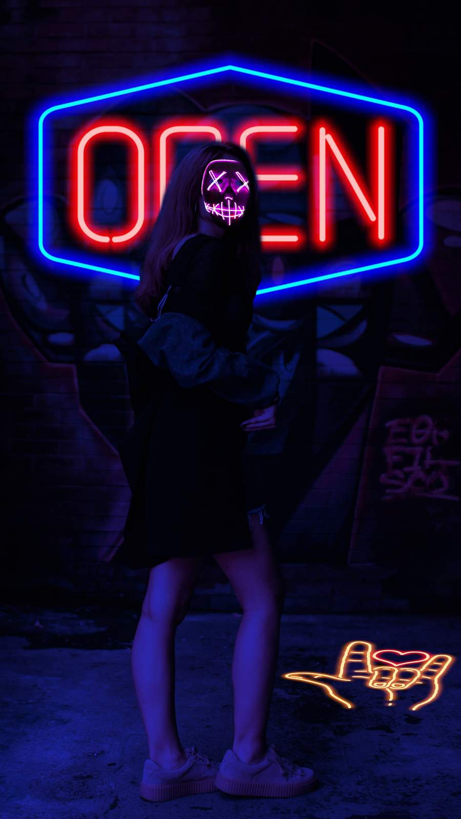 Neon Woman iPhone Wallpaper