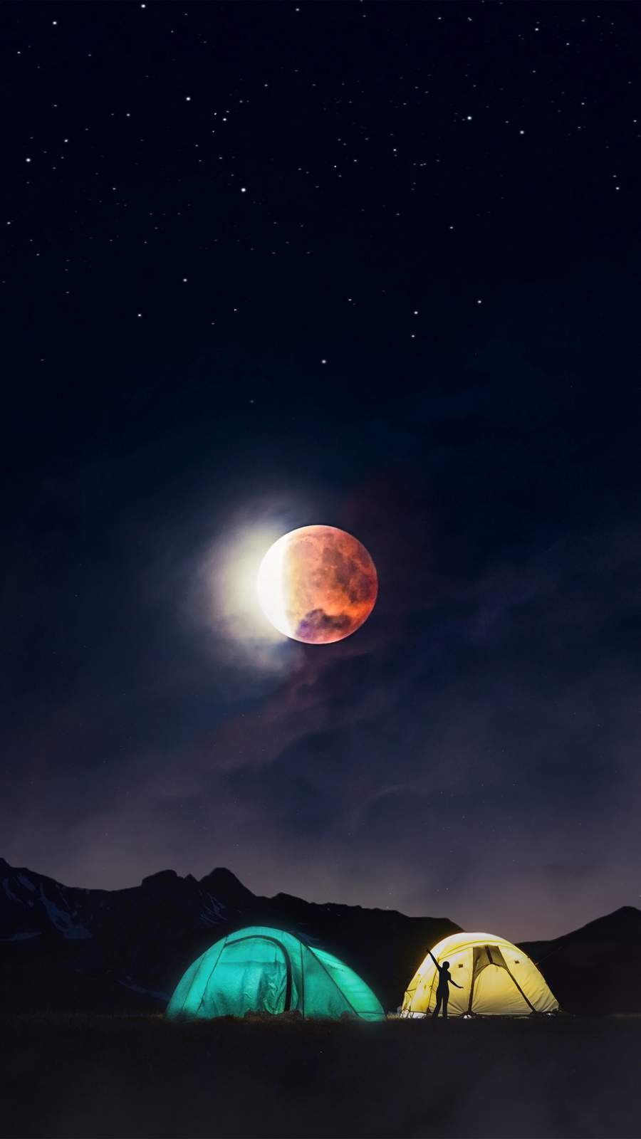 Night Camping iPhone Wallpaper