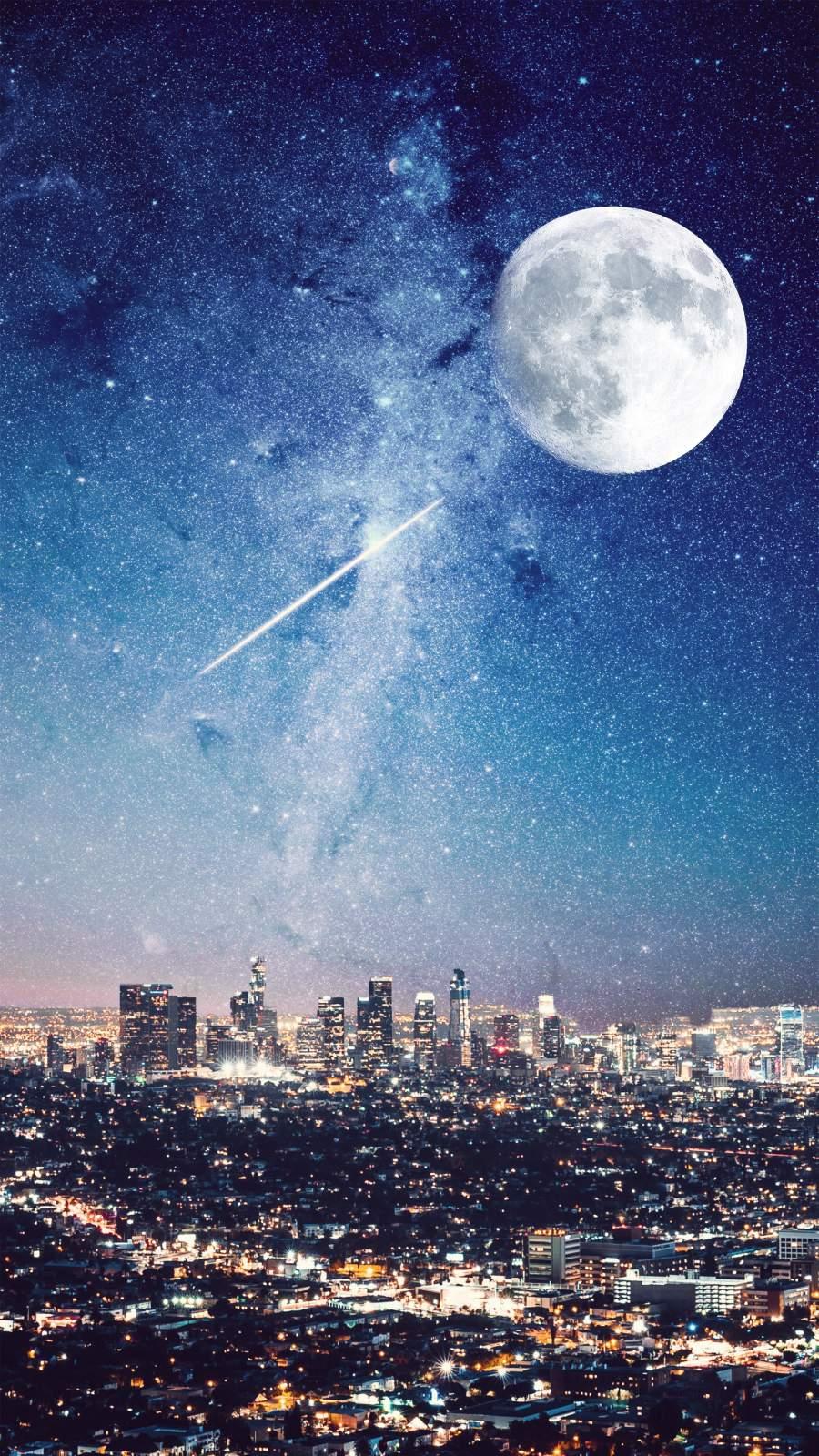 Night City Moon iPhone Wallpaper