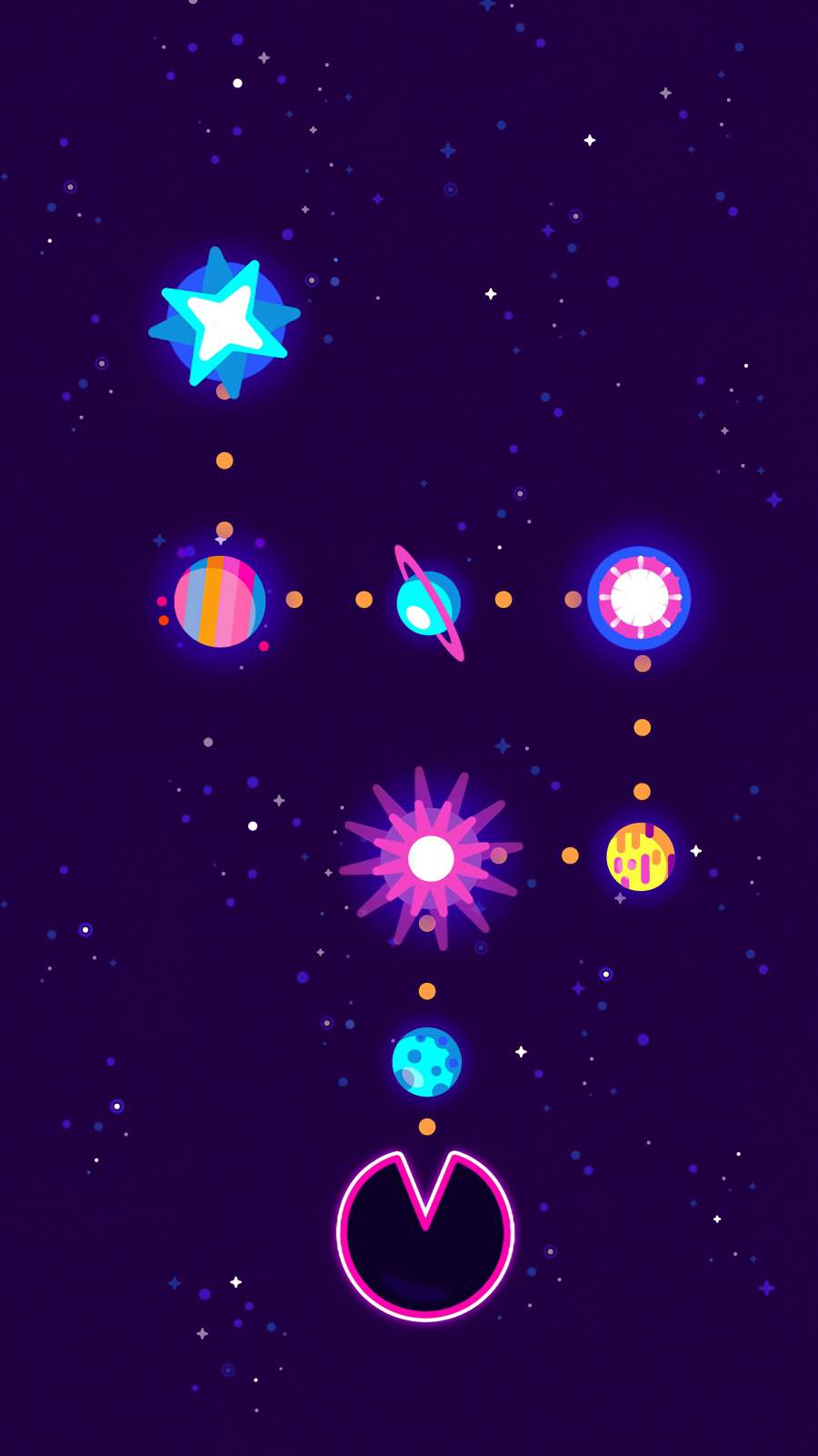 Pacman Eating Planets iPhone Wallpaper