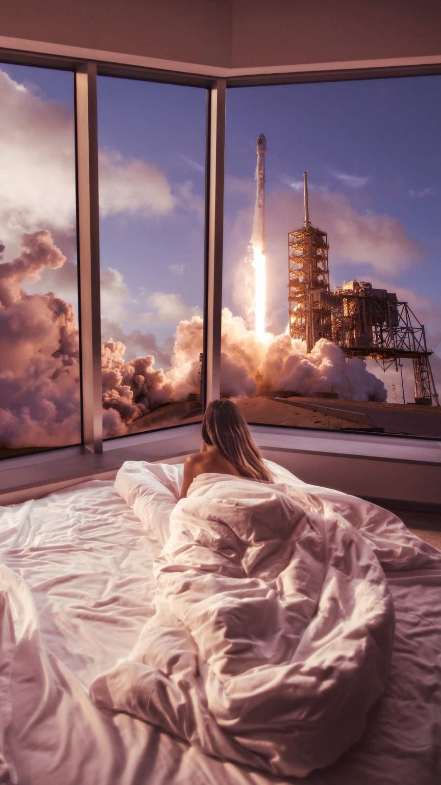 Space Shuttle Launch Watching iPhone Wallpaper