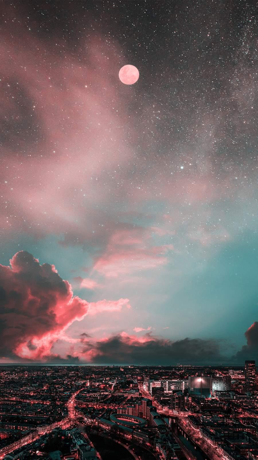 Sunset Moon City iPhone Wallpaper