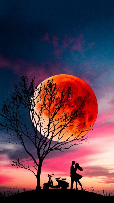 Sunset Moon Lovers iPhone Wallpaper