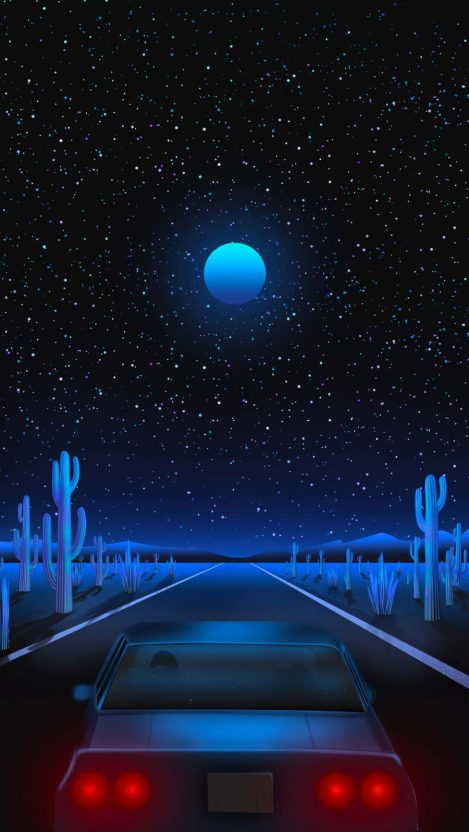 Vaporwave Road iPhone Wallpaper