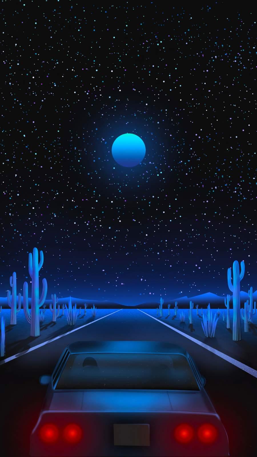 Vaporwave Road iPhone Wallpaper