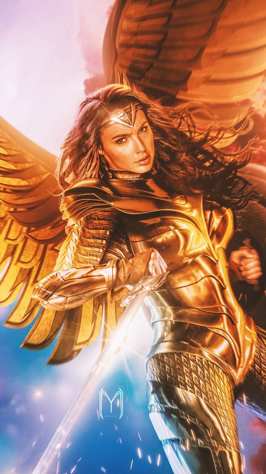 Wonder Woman Wings iPhone Wallpaper