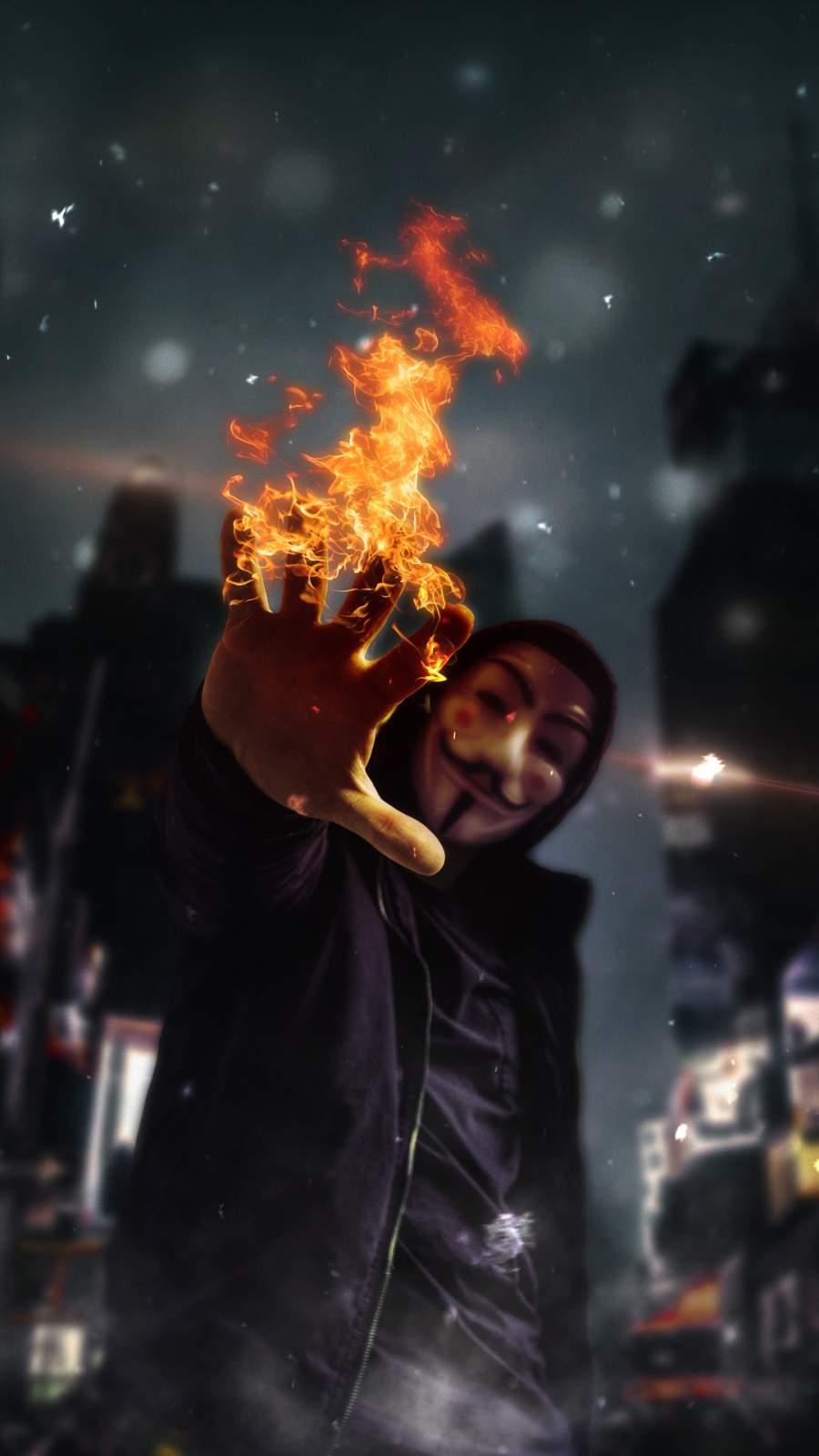 Anonymus Guy with Flame iPhone Wallpaper