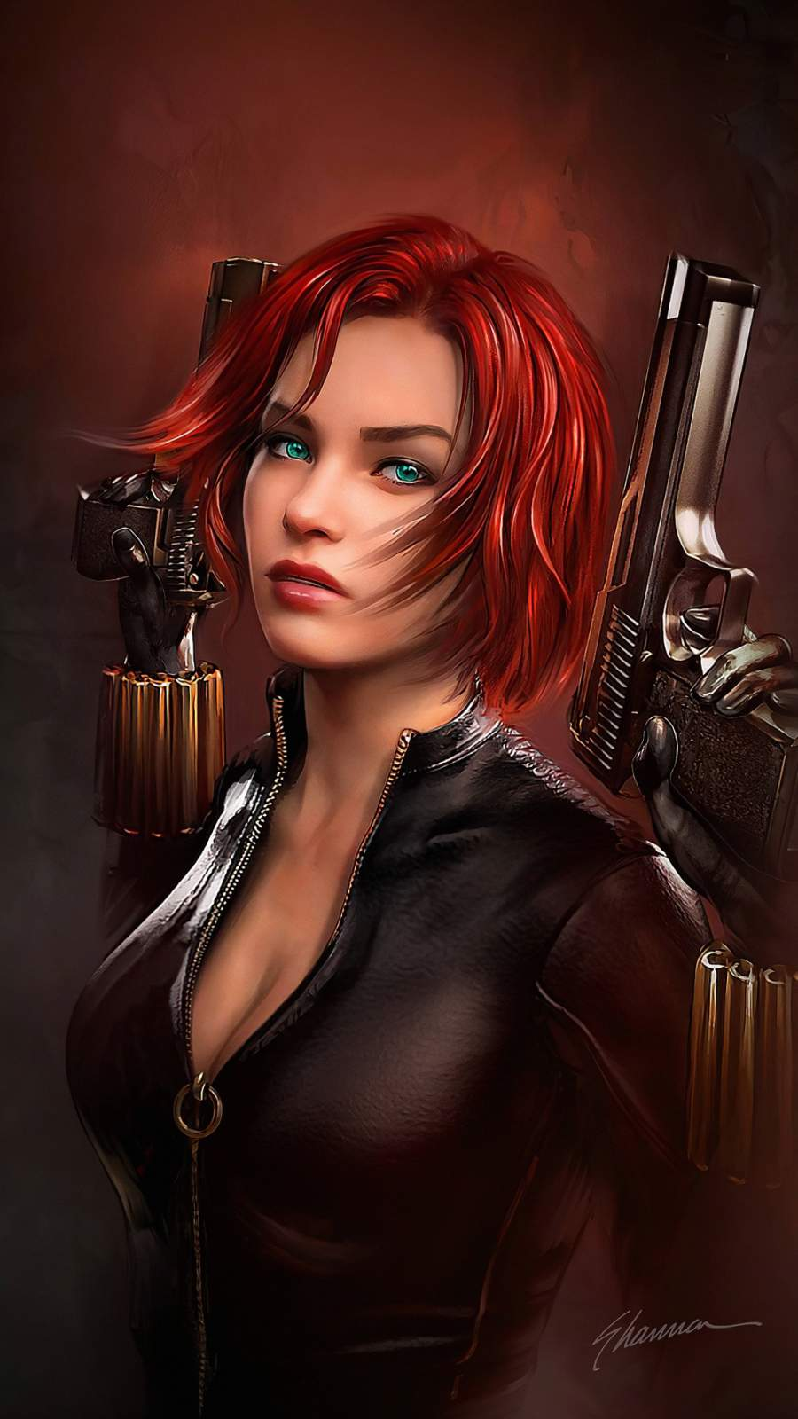 Black Widow Girl iPhone Wallpaper