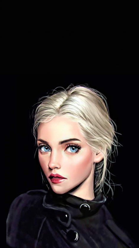 Blonde Girl in Black iPhone Wallpaper