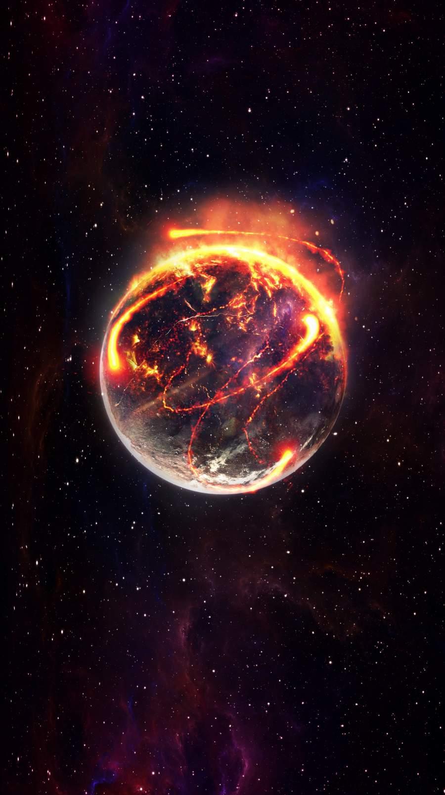 Burning Earth iPhone Wallpaper