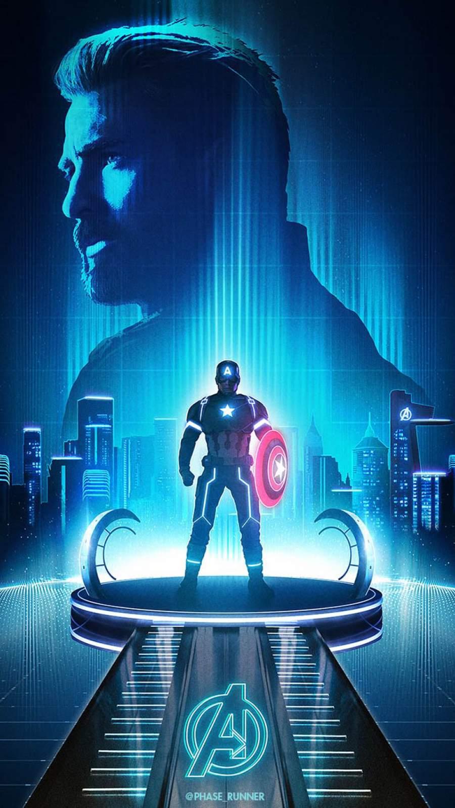 Captain America Neon iPhone Wallpaper