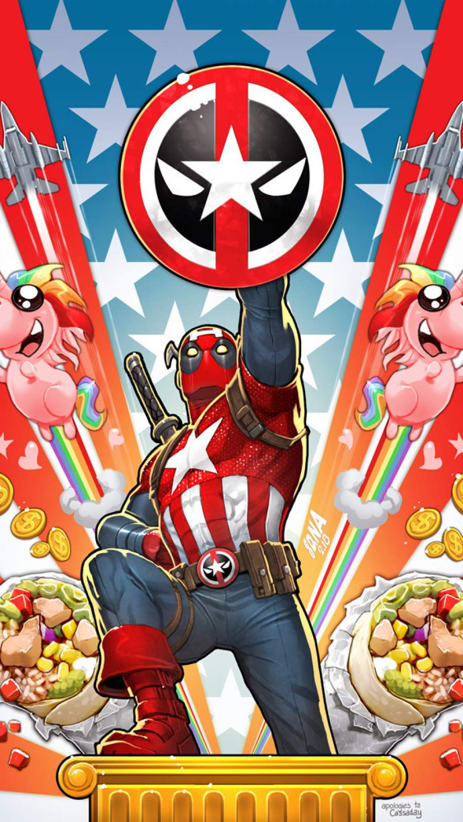 Captain Deadpool iPhone Wallpaper
