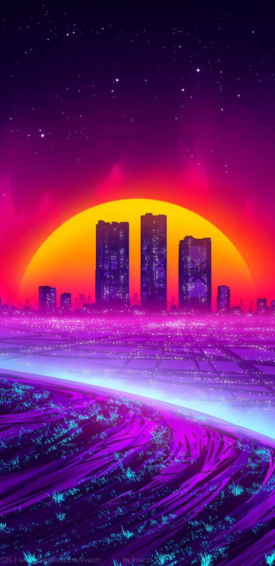 Cyber City Art iPhone Wallpaper