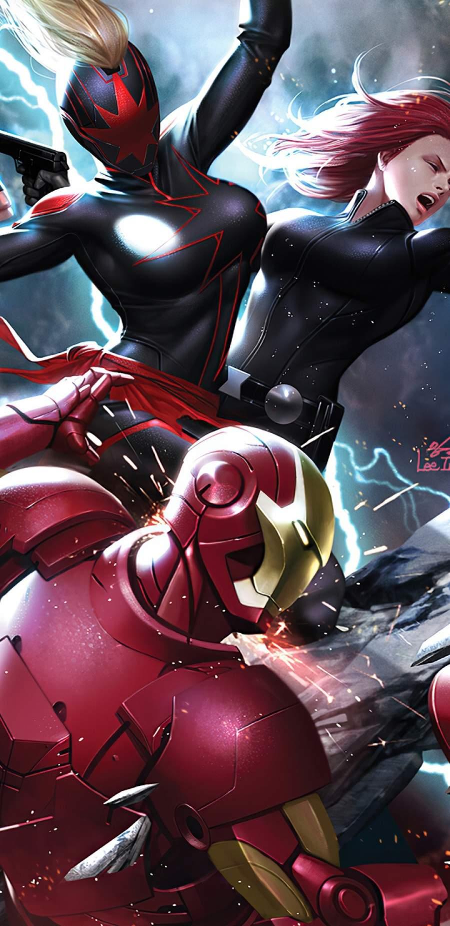 Dark Captain Marvel vs Avengers iPhone Wallpaper