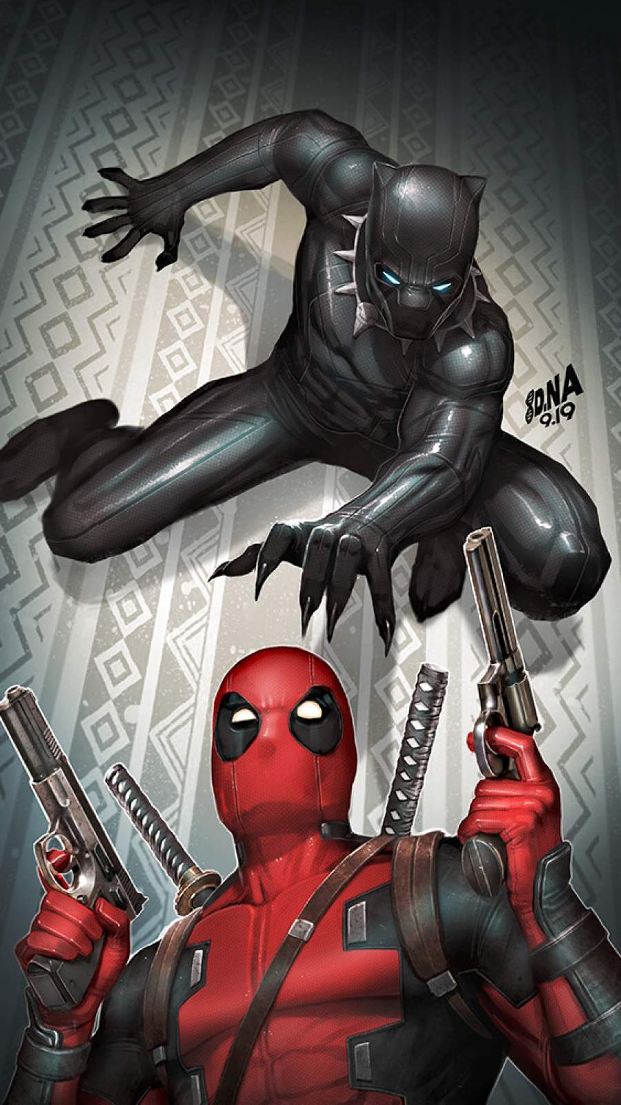 Deadpool vs Black Panther iPhone Wallpaper