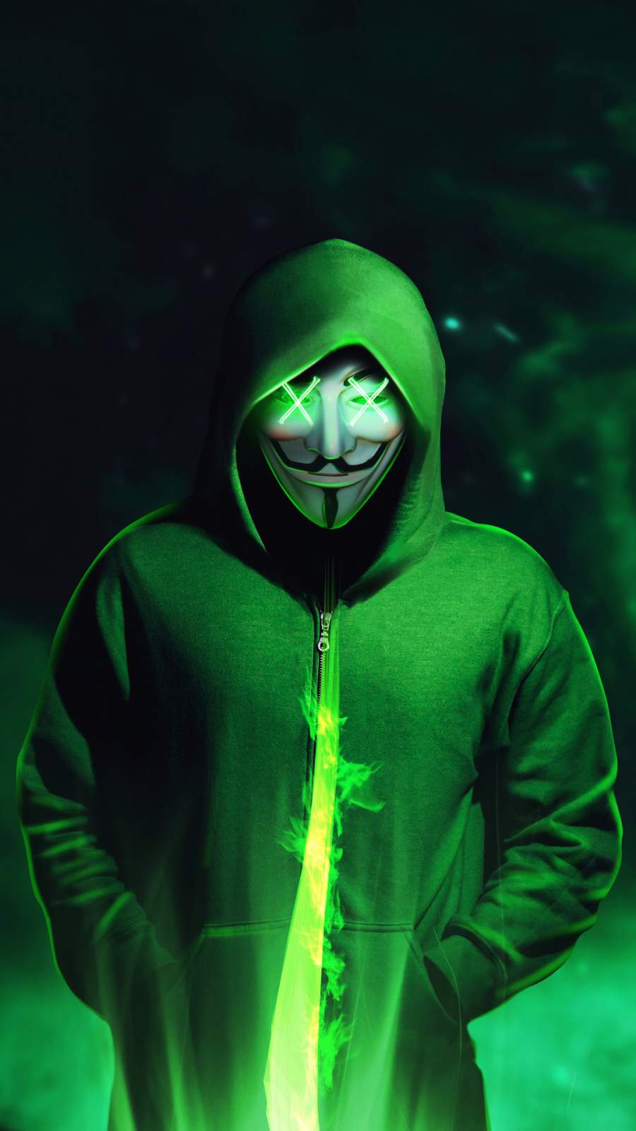 Green Hoodie Anonymus Mask iPhone Wallpaper