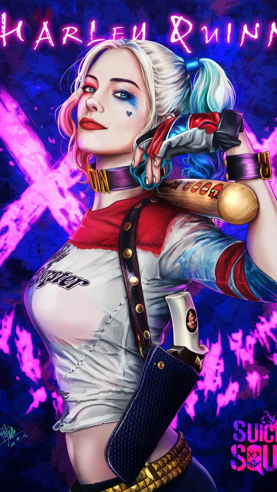 Harley Quinn Art iPhone Wallpaper 1