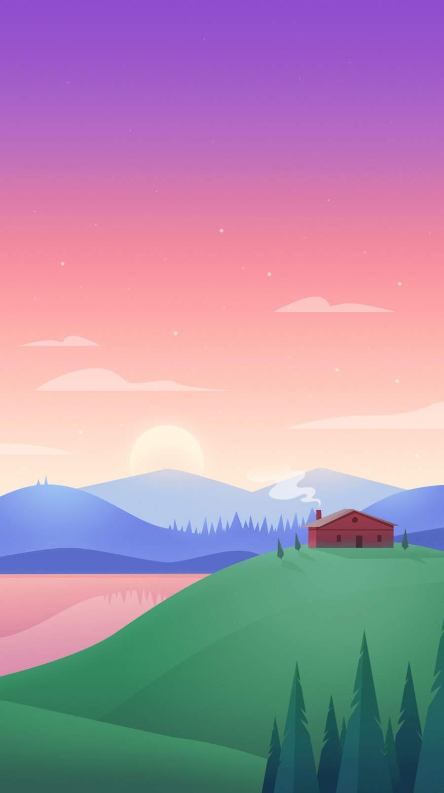 Hilltop House iPhone Wallpaper