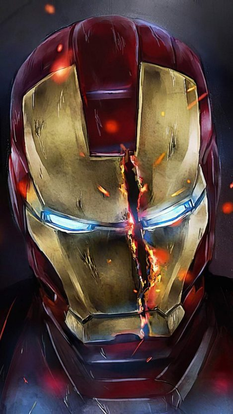 Iron Man Mask Split iPhone Wallpaper