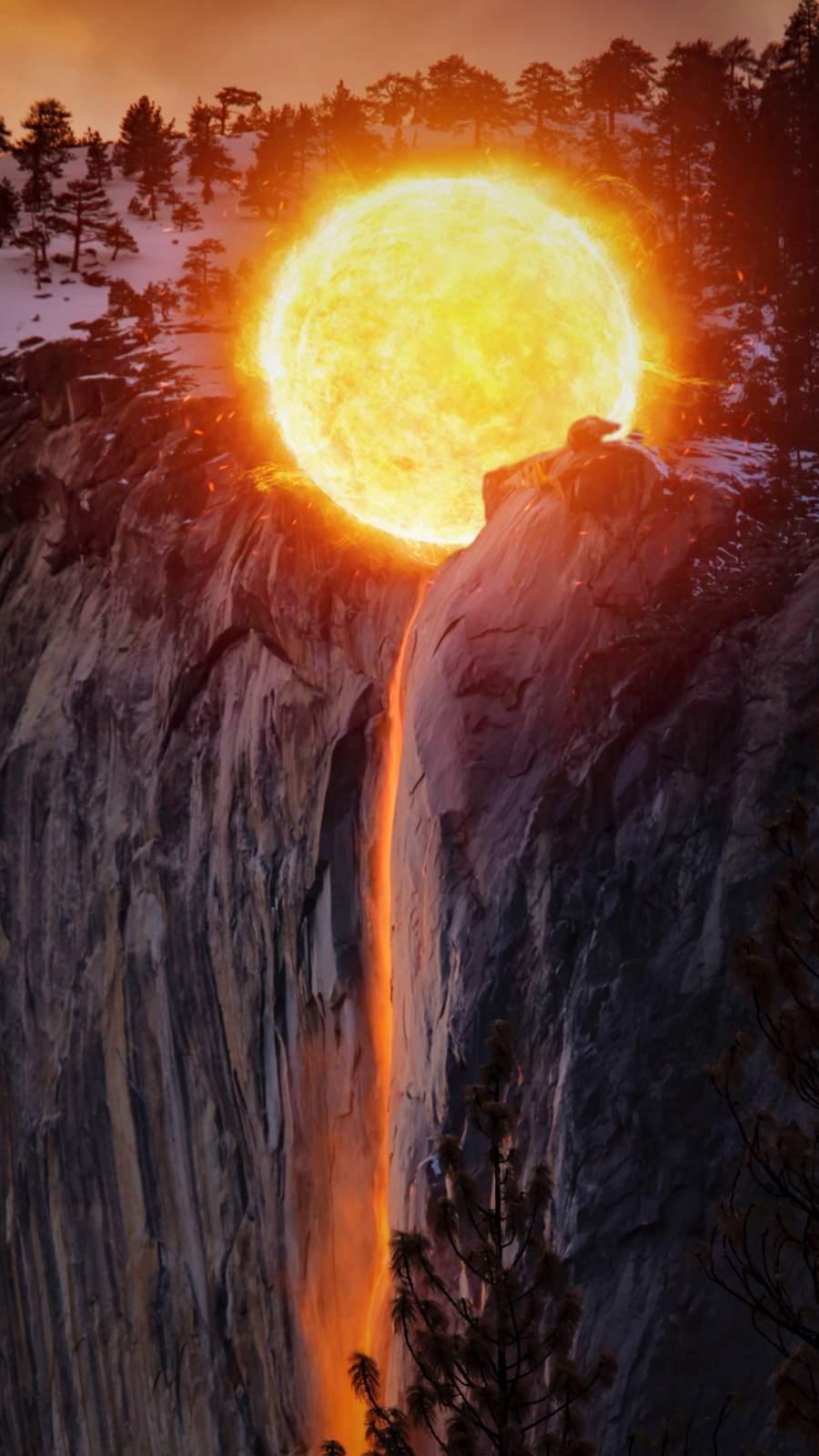 Lava Fall iPhone Wallpaper