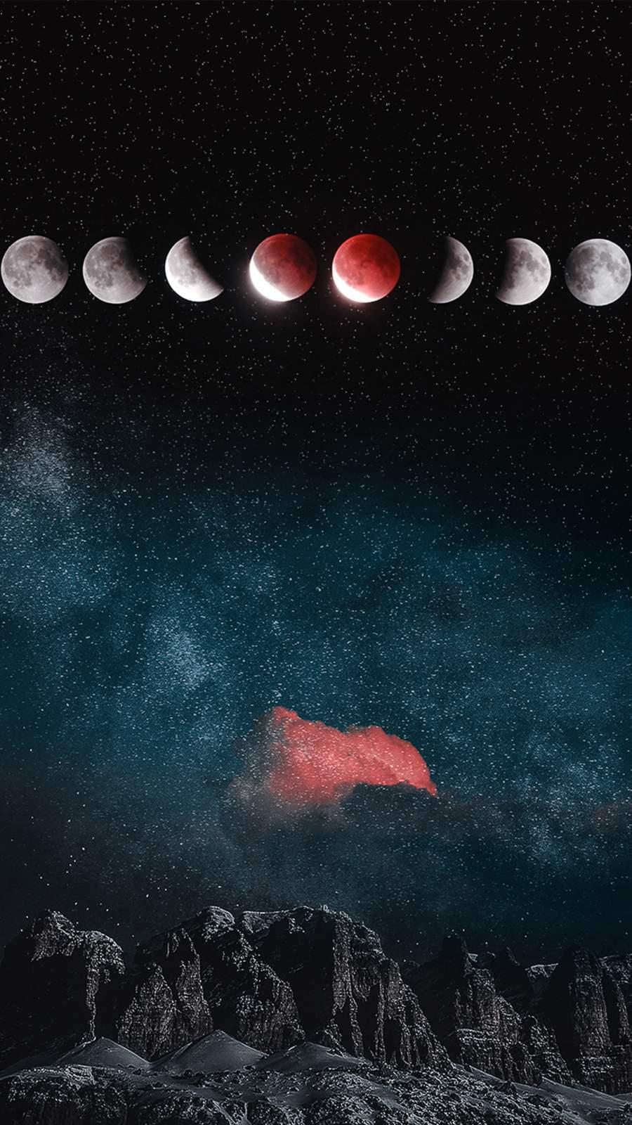 Mountain Moon Eclipse iPhone Wallpaper