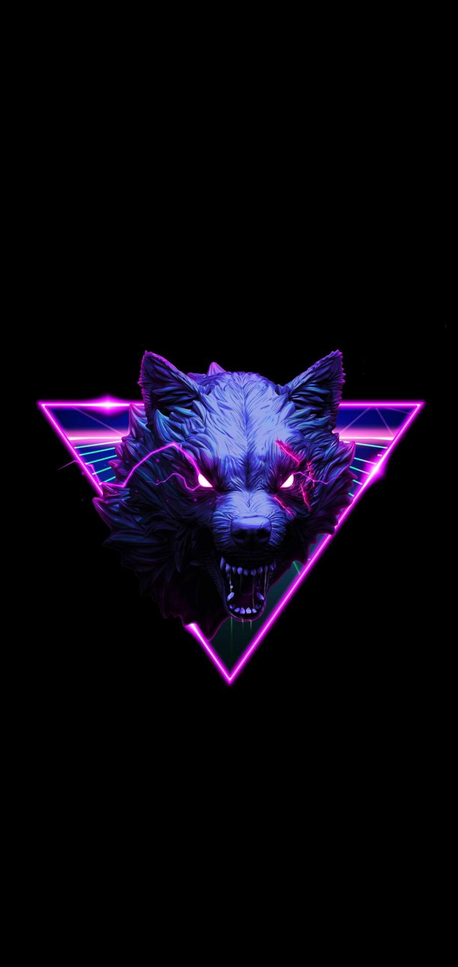 Neon Wolf iPhone Wallpaper