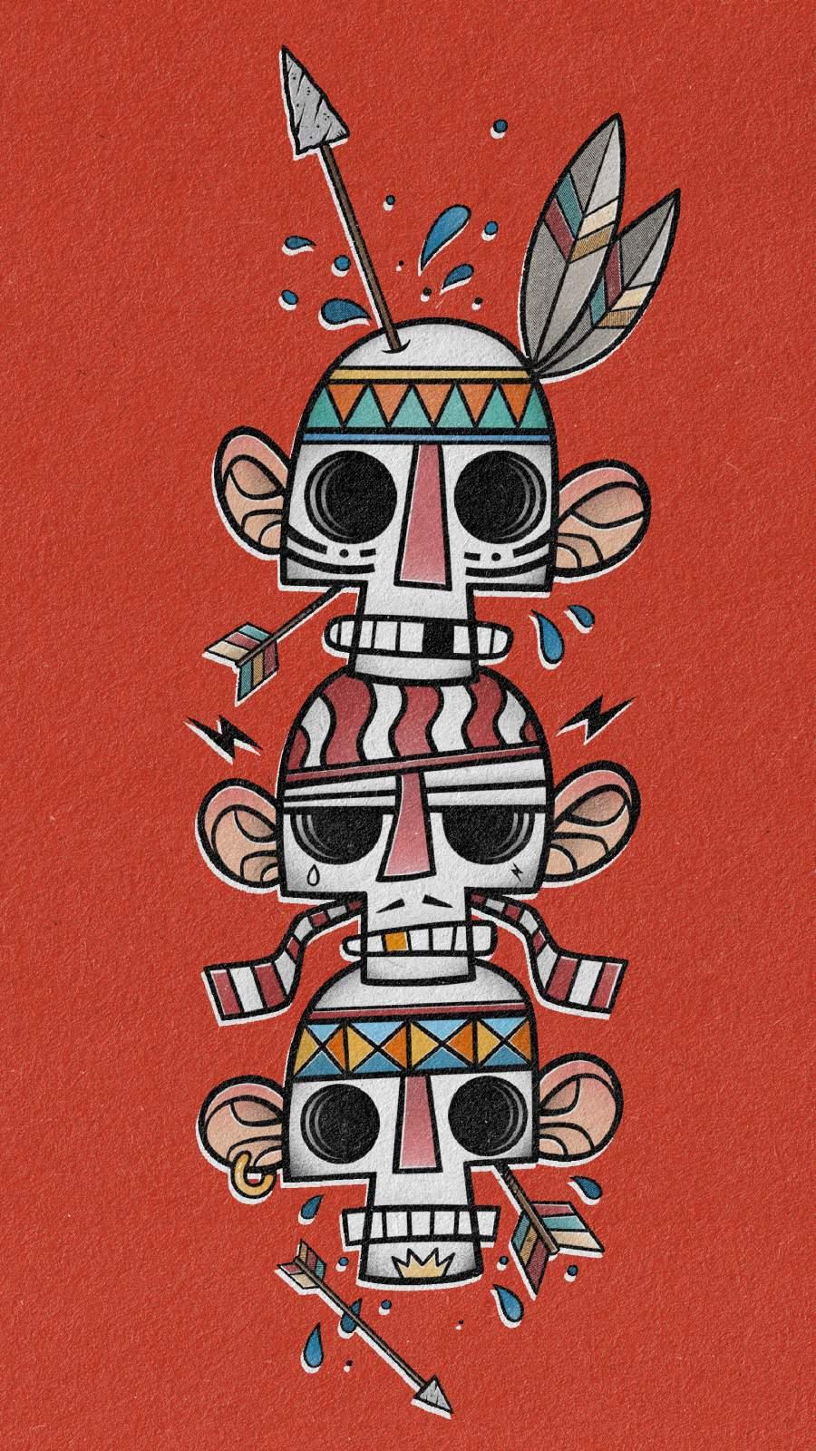 Primitive Skulls iPhone Wallpaper