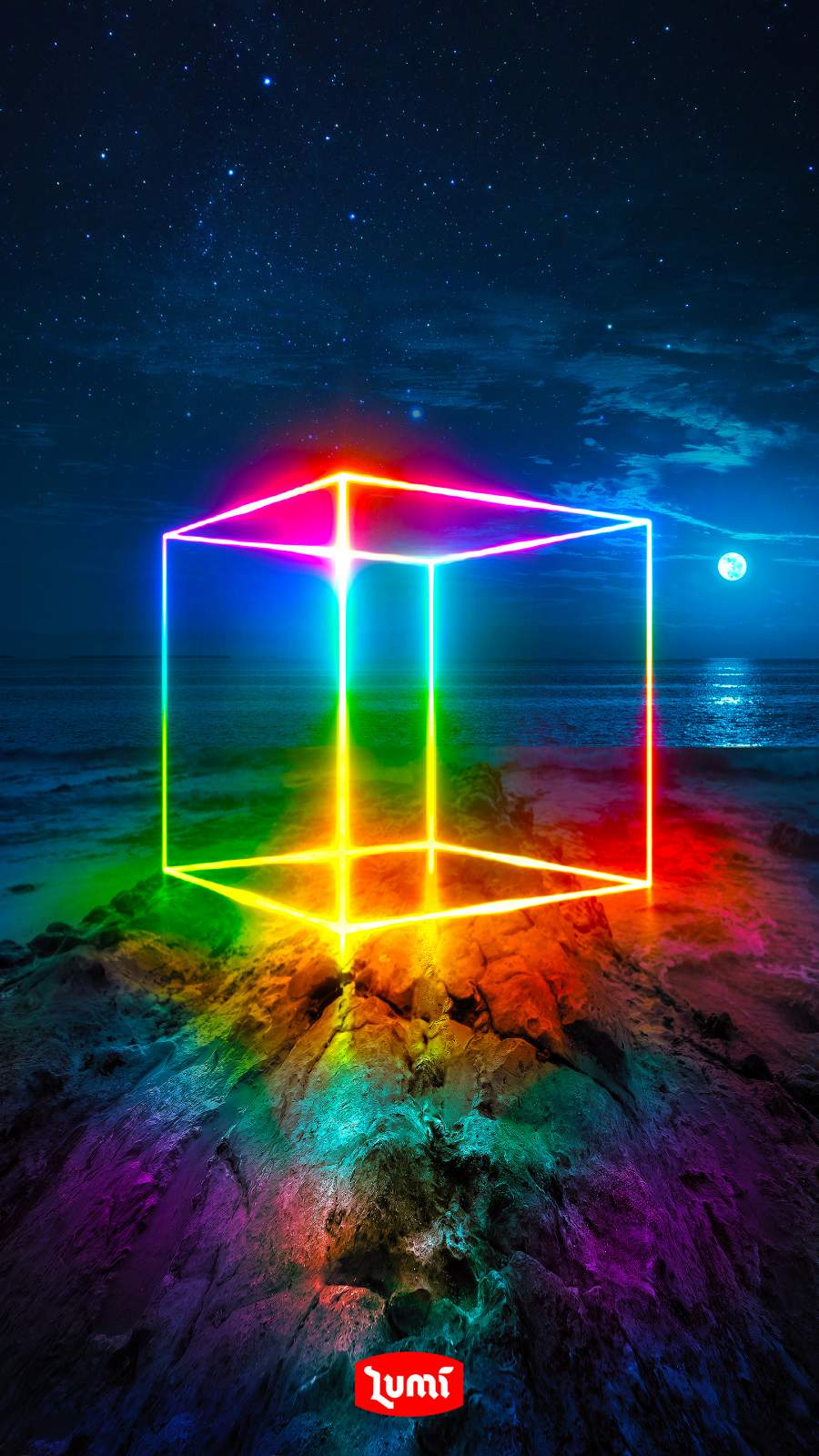 Rainbow Cube iPhone Wallpaper