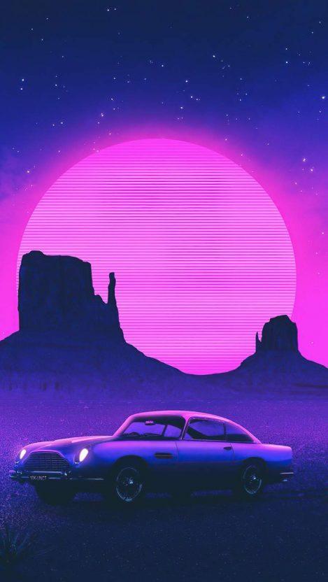 Retro Car Art iPhone Wallpaper