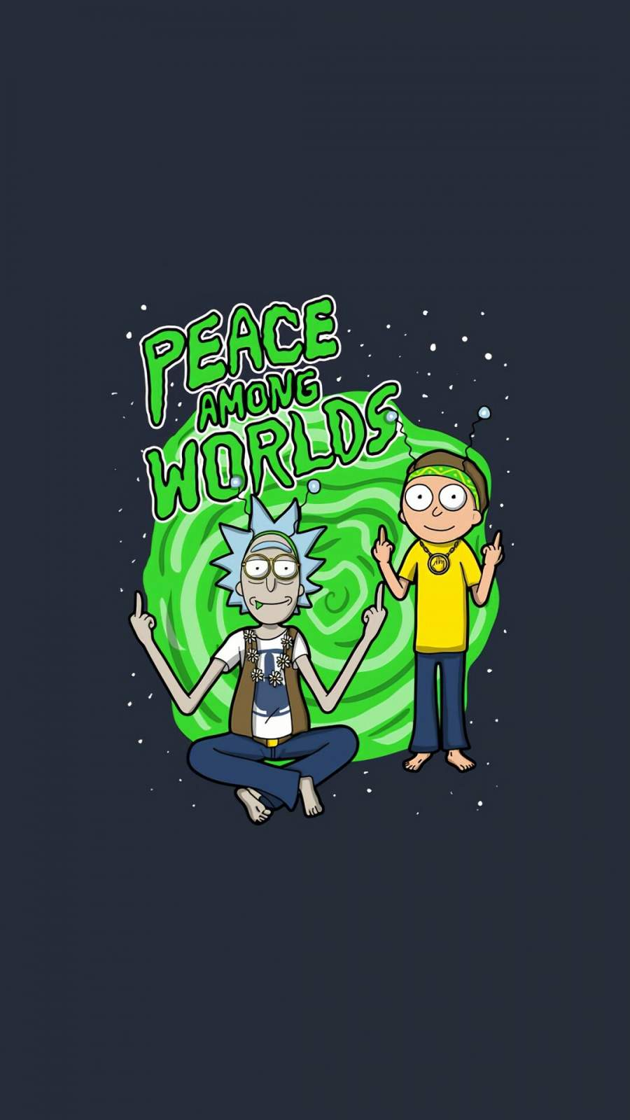 Rick and Morty Peace Among Words iPhone Wallpaper