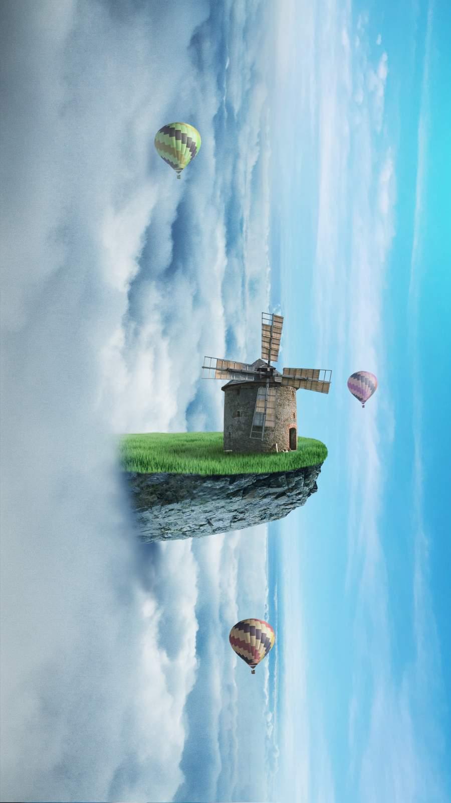 Sky Windmill iPhone Wallpaper