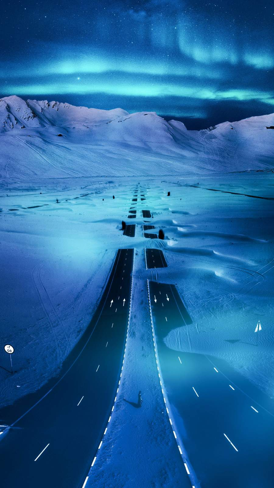 Snowvy Highway iPhone Wallpaper