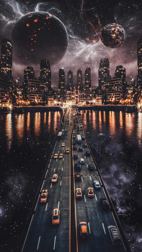 Space Road iPhone Wallpaper