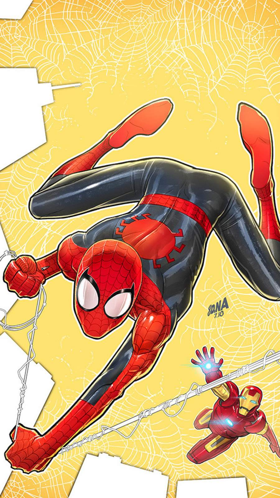 Spiderman and Iron Man Art iPhone Wallpaper